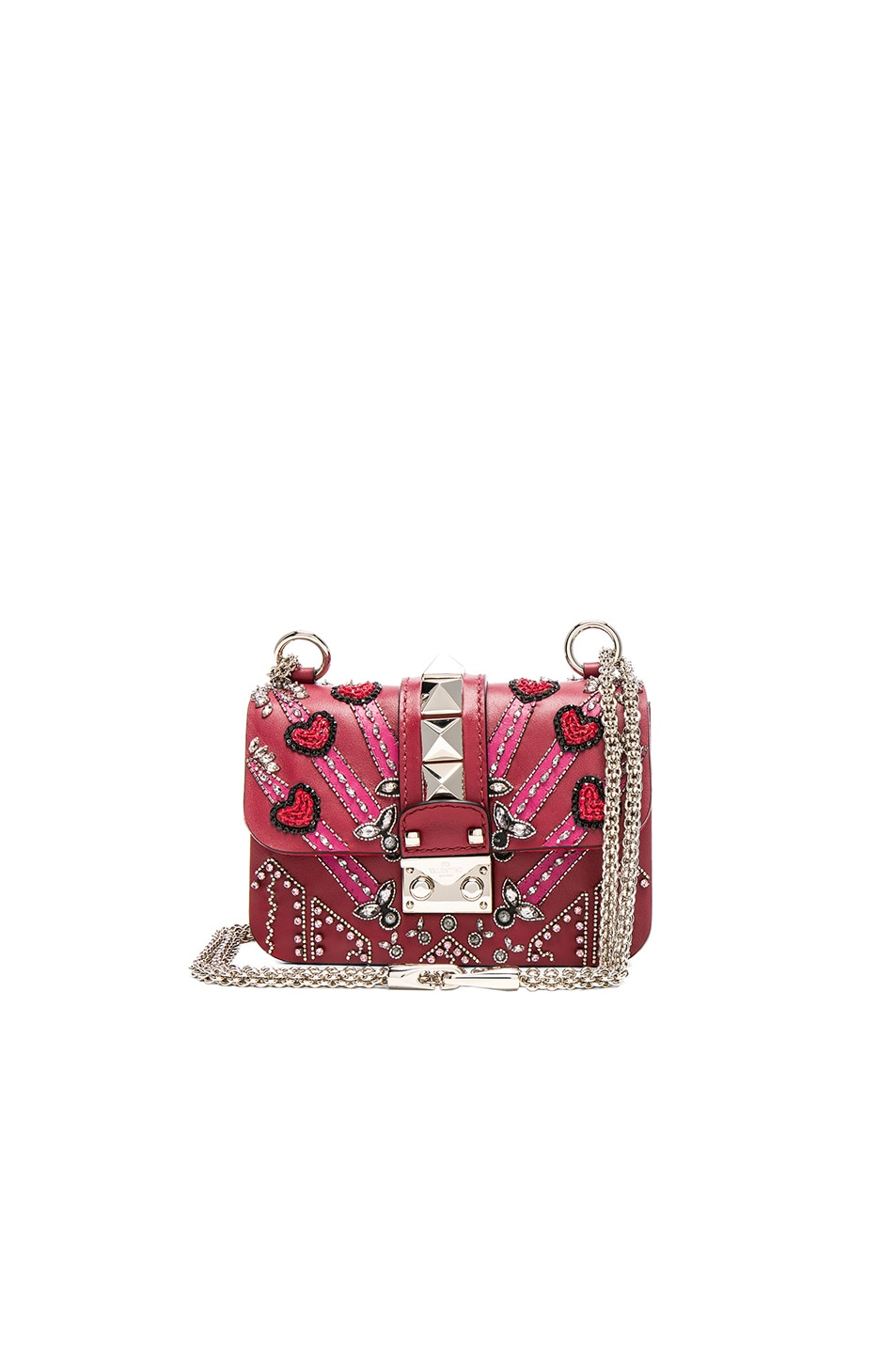 Image 1 of Valentino Embellished Mini Lock Shoulder Bag in Red & Multi