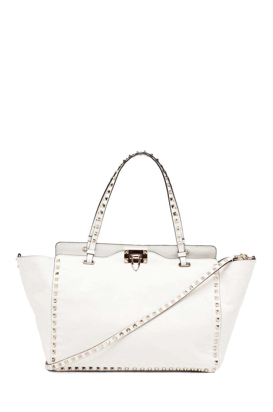 Image 1 of Valentino Rockstud Tote in White