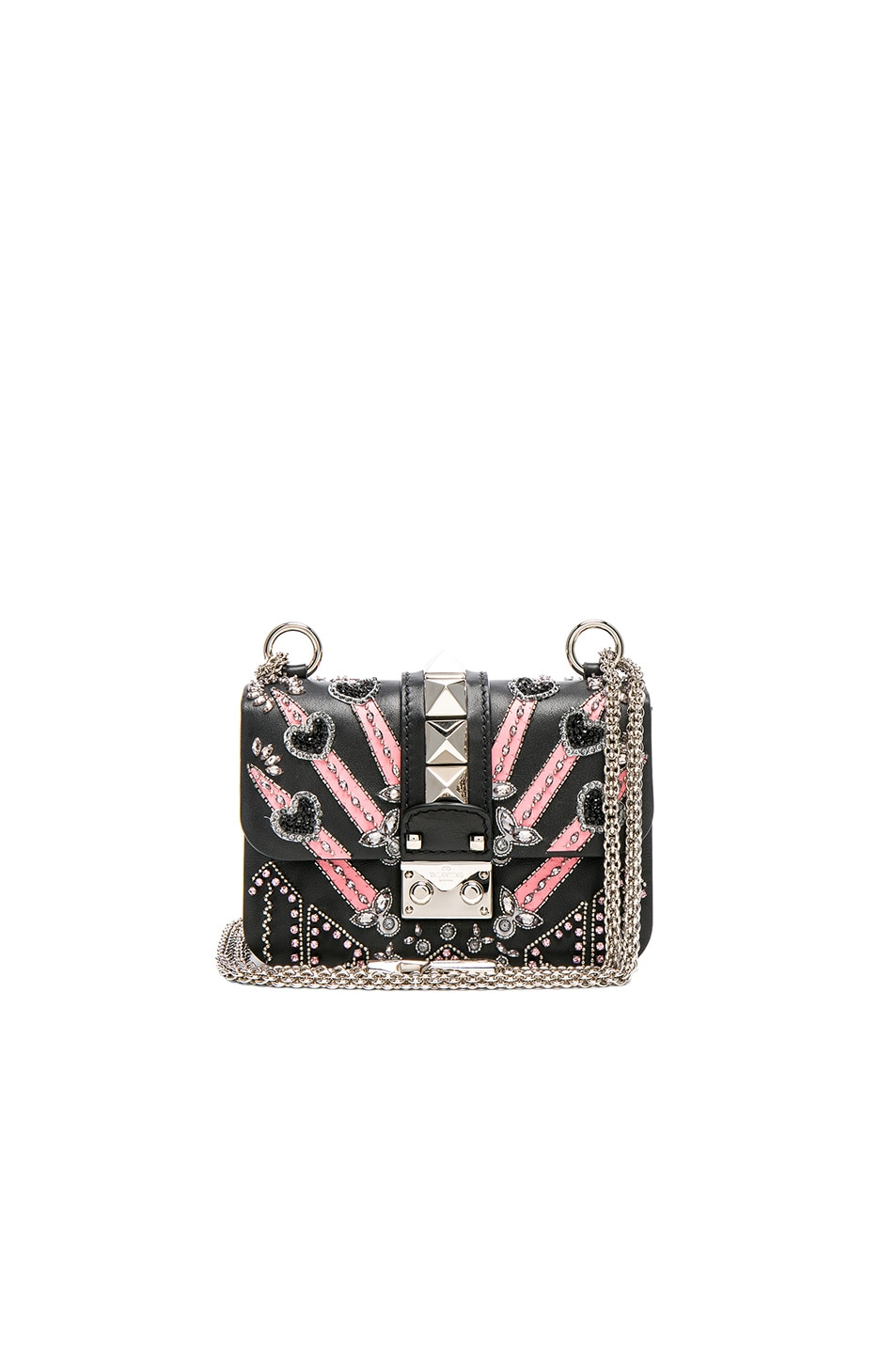 Image 1 of Valentino Embellished Mini Lock Shoulder Bag in Black & Multi