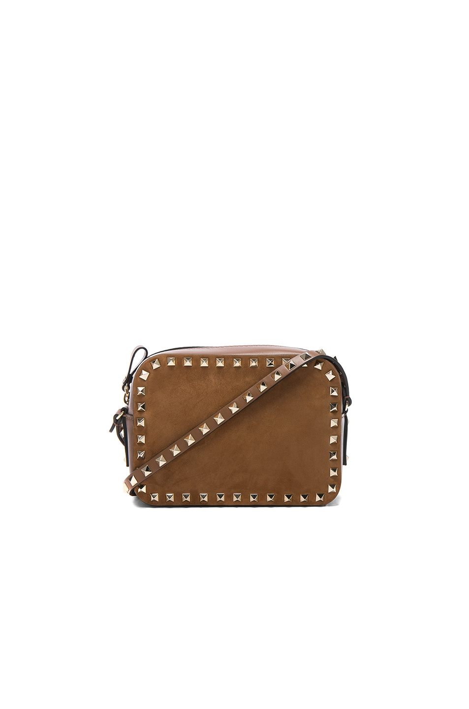Image 1 of Valentino Rockstud Suede Crossbody Bag in Deep Cuir