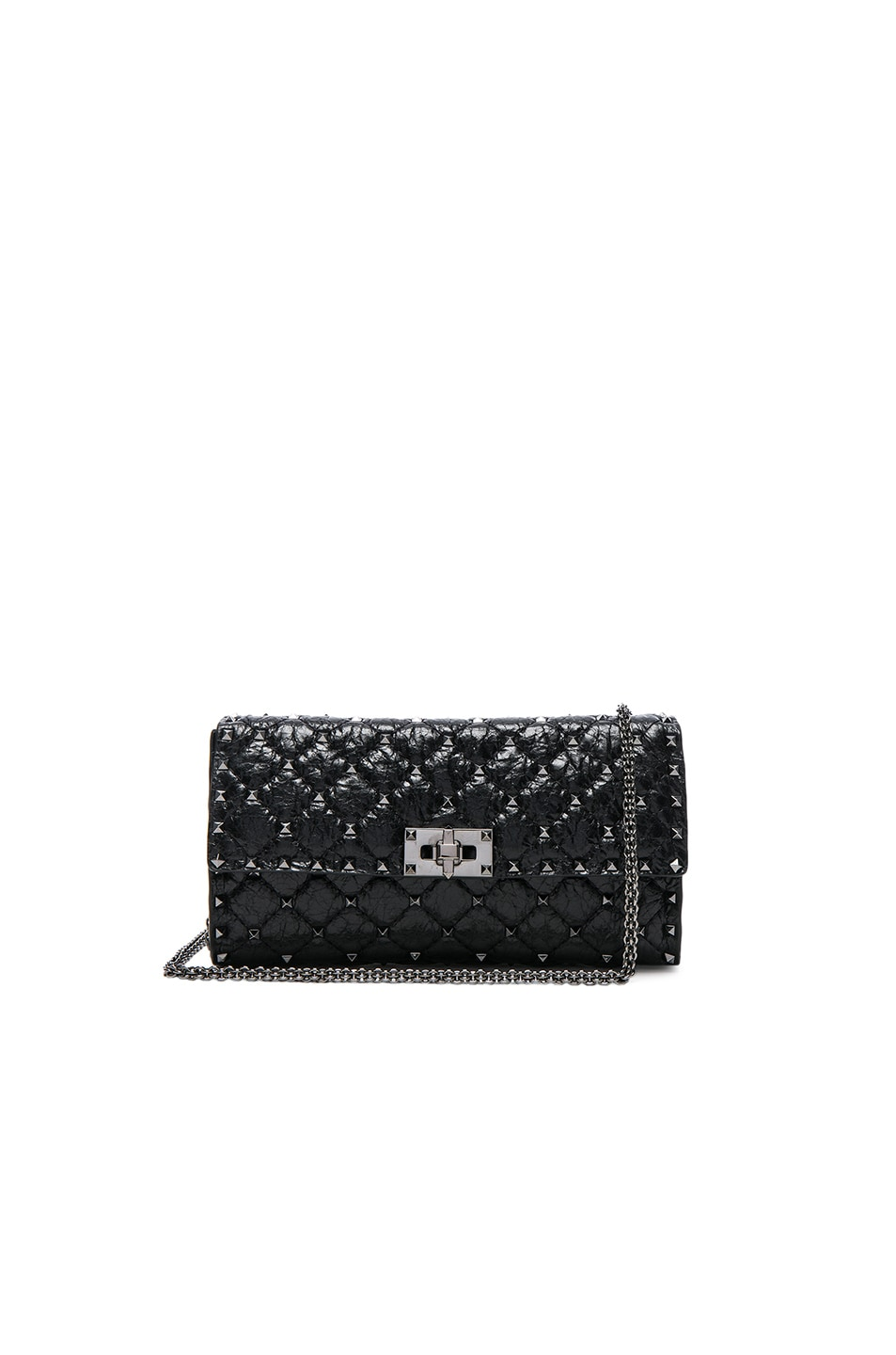 Image 1 of Valentino Rockstud Spike Clutch in Black
