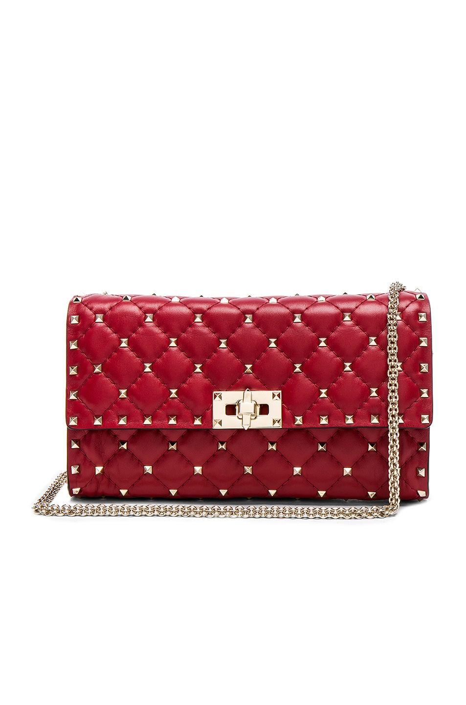 Image 1 of Valentino Quilted Rockstud Spike Clutch in Red
