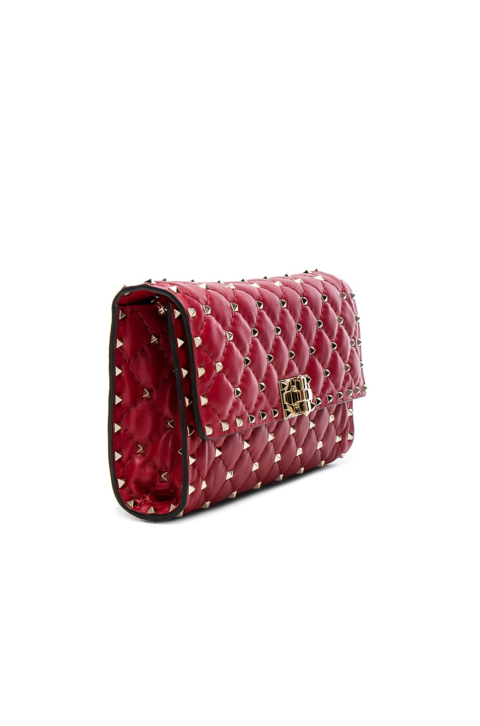 Image 4 of Valentino Rockstud Spike Clutch in Red