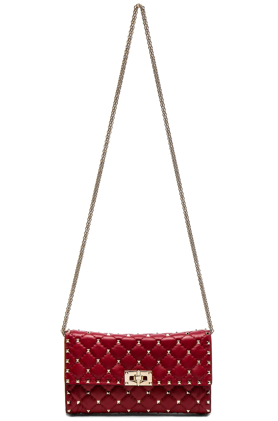 Image 6 of Valentino Rockstud Spike Clutch in Red