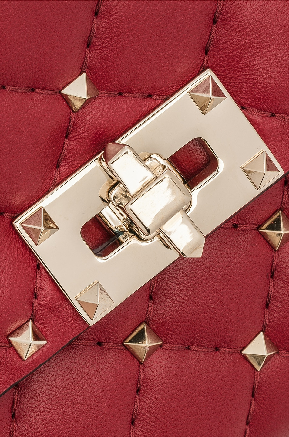 Image 8 of Valentino Rockstud Spike Clutch in Red