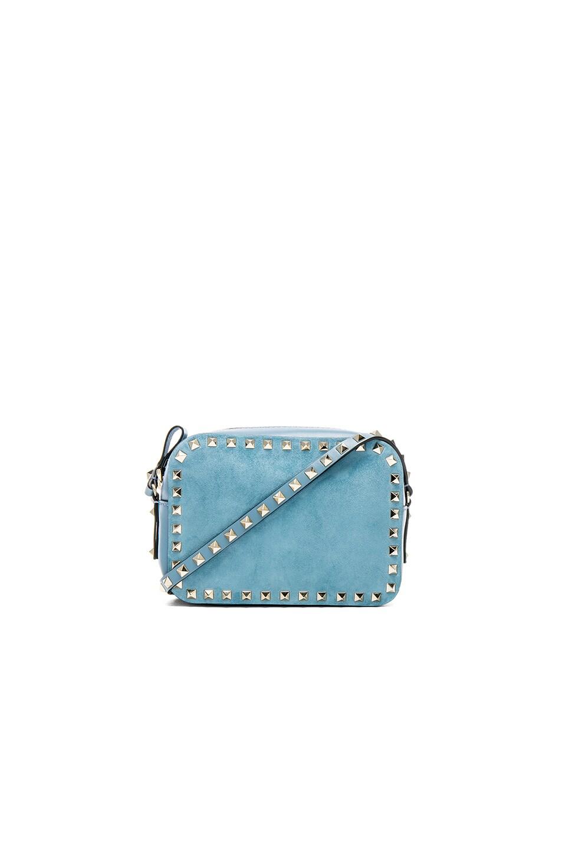 Image 1 of Valentino Rockstud Suede Crossbody Bag in Grey Sky