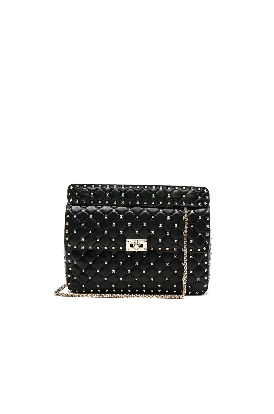 Image 1 of Valentino Large Quilted Rockstud Spike Shoulder Bag in Black
