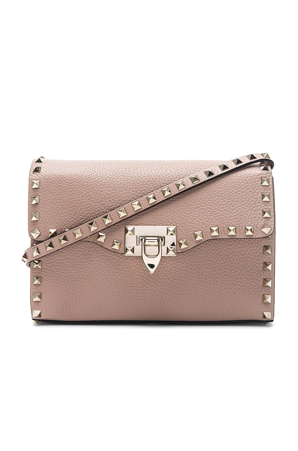 Image 1 of Valentino Medium Rockstud Shoulder Bag in Poudre