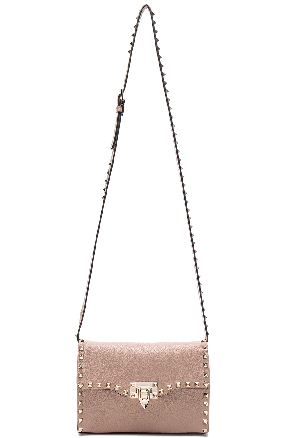 Image 6 of Valentino Medium Rockstud Shoulder Bag in Poudre