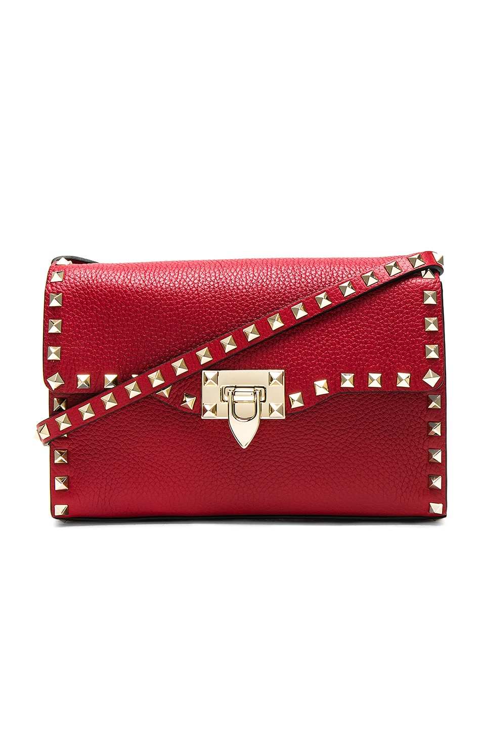 Image 1 of Valentino Medium Rockstud Shoulder Bag in Red