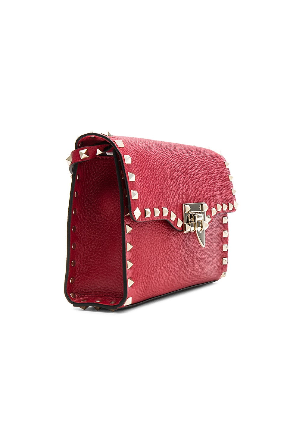 Image 3 of Valentino Medium Rockstud Shoulder Bag in Red