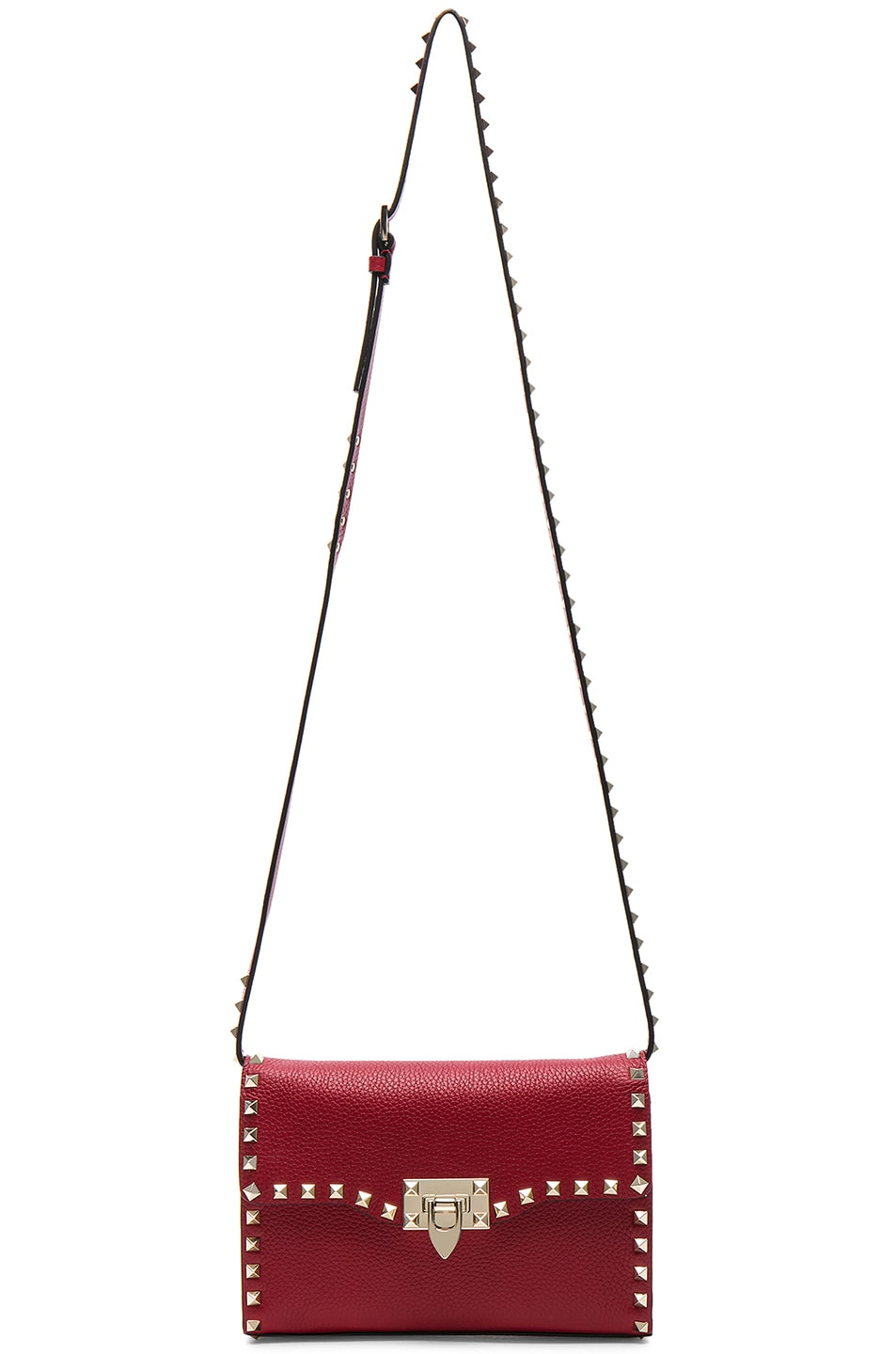 Image 5 of Valentino Medium Rockstud Shoulder Bag in Red