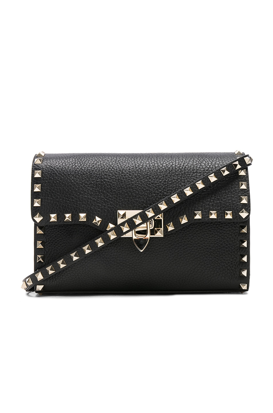 Image 1 of Valentino Medium Rockstud Shoulder Bag in Black