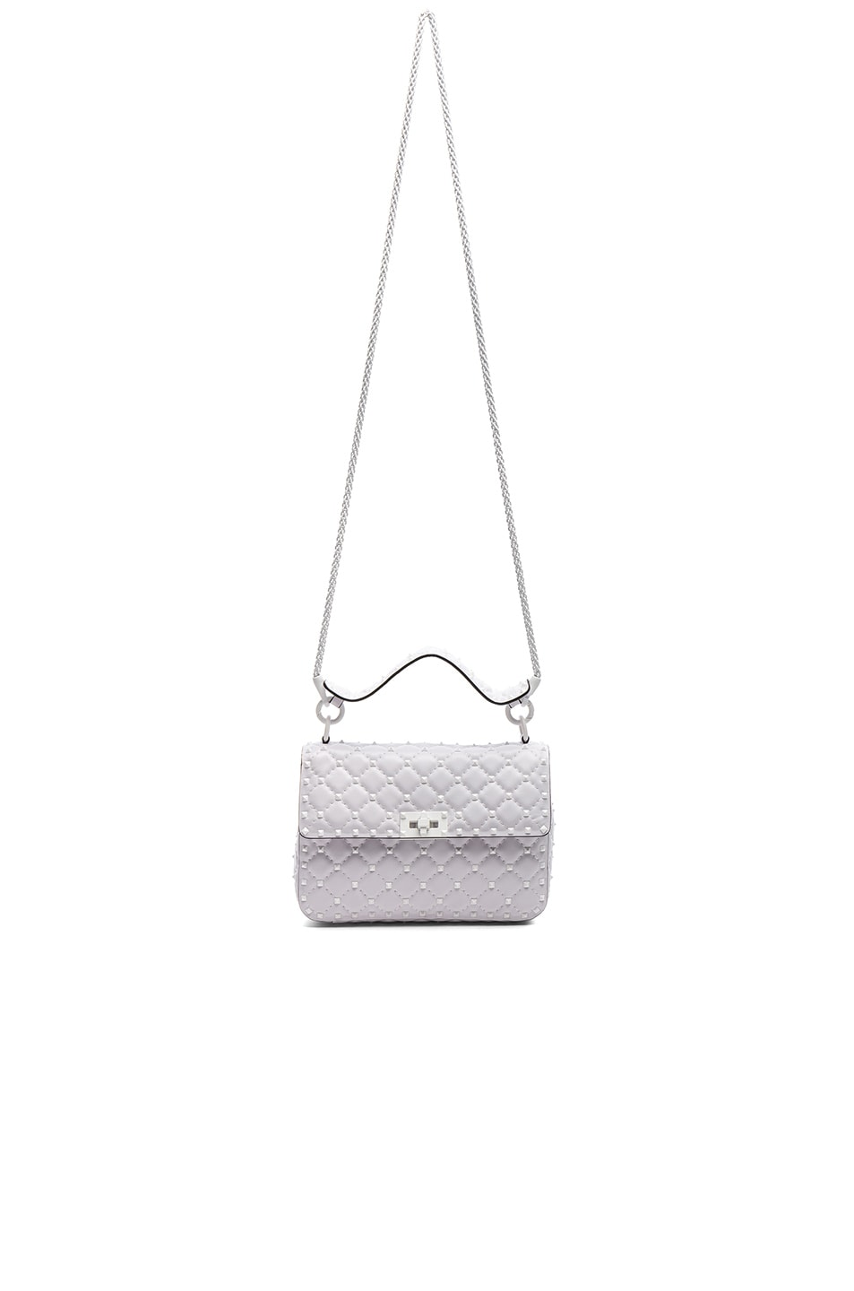 Image 5 of Valentino Medium Free Rockstud Spike Shoulder Bag in Optic White