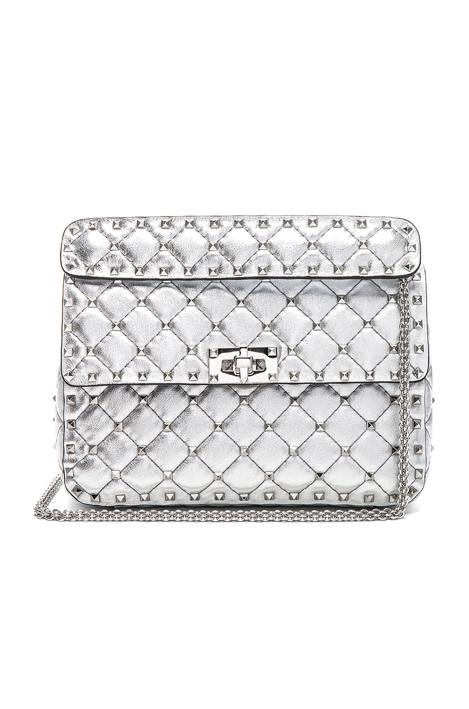 Image 1 of Valentino Medium Metallic Rockstud Spike Shoulder Bag in Silver