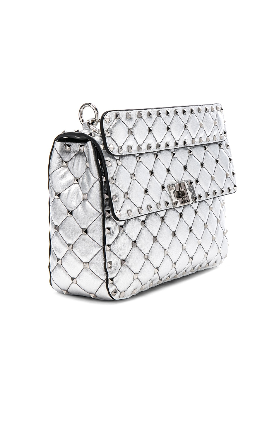 Image 4 of Valentino Medium Metallic Rockstud Spike Shoulder Bag in Silver