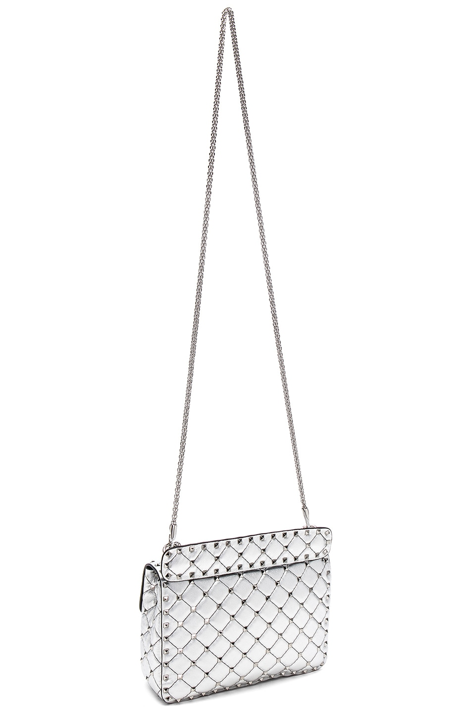 Image 6 of Valentino Medium Metallic Rockstud Spike Shoulder Bag in Silver