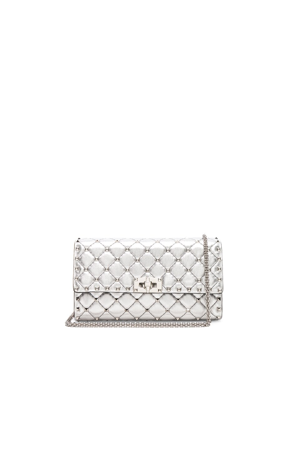 Image 1 of Valentino Metallic Rockstud Spike Clutch in Silver