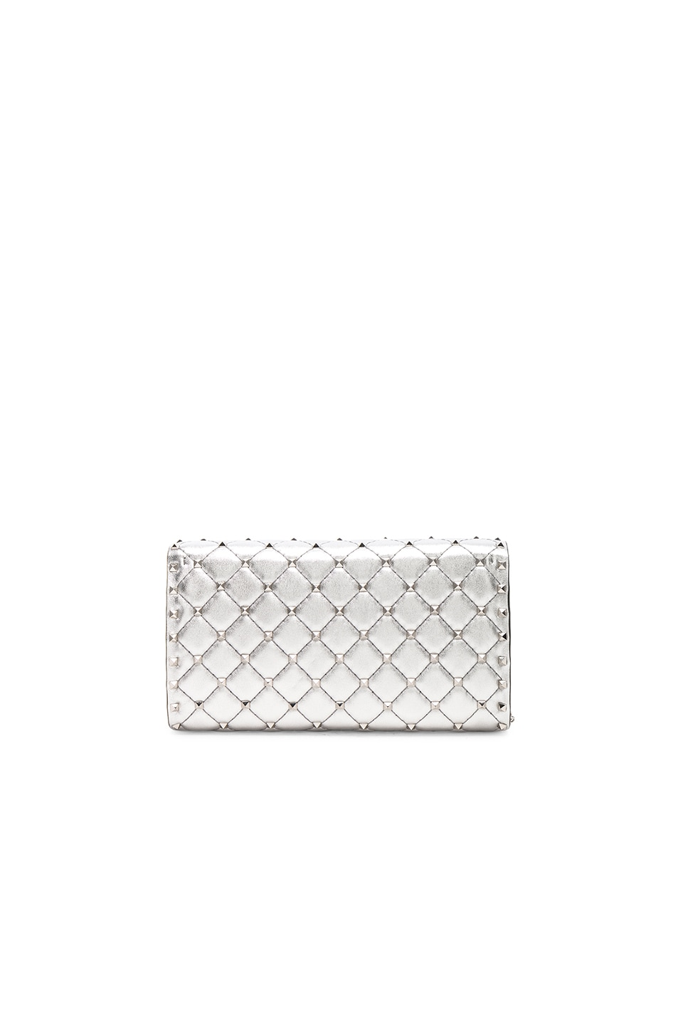 Image 2 of Valentino Metallic Rockstud Spike Clutch in Silver