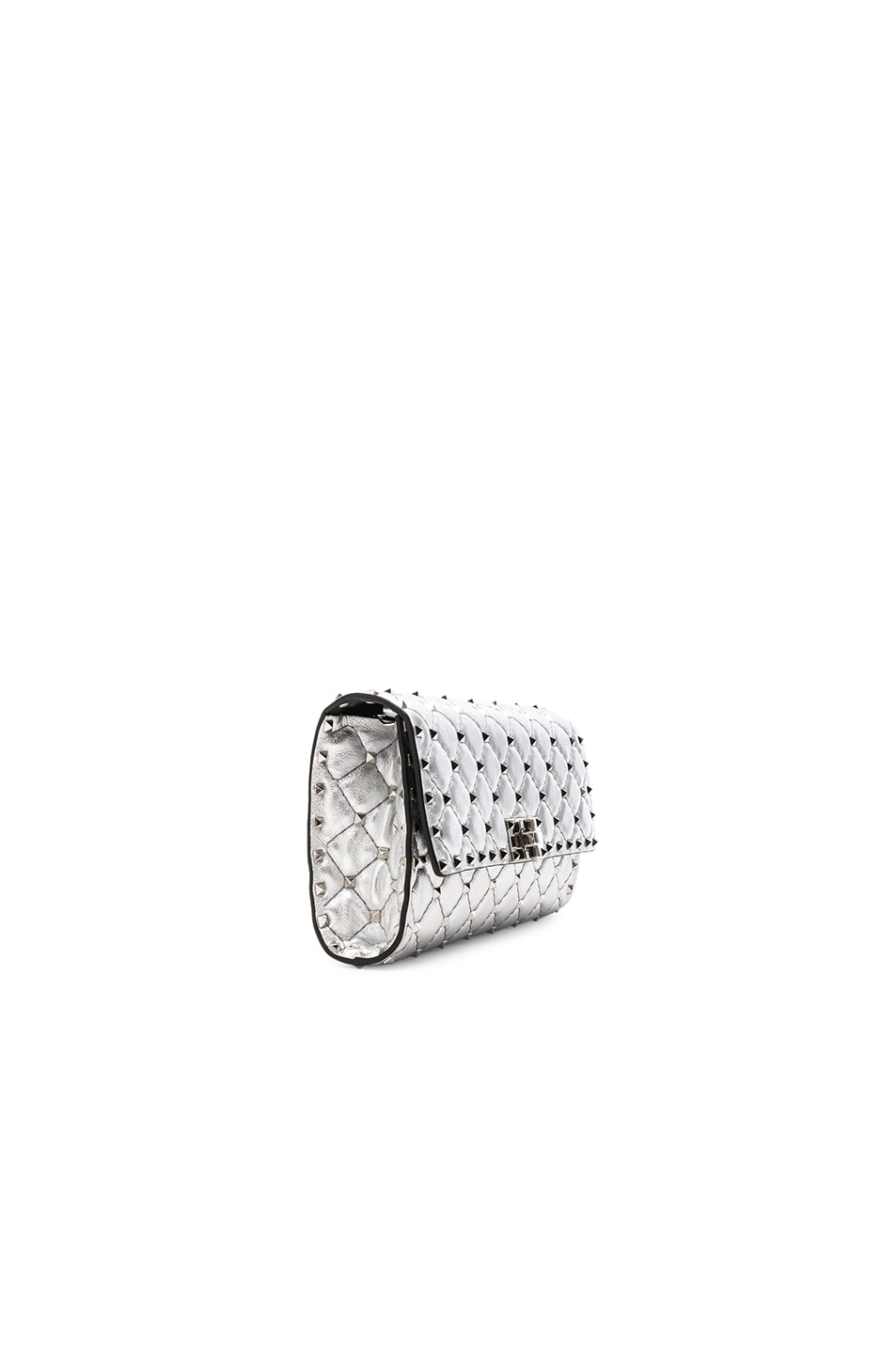 Image 3 of Valentino Metallic Rockstud Spike Clutch in Silver