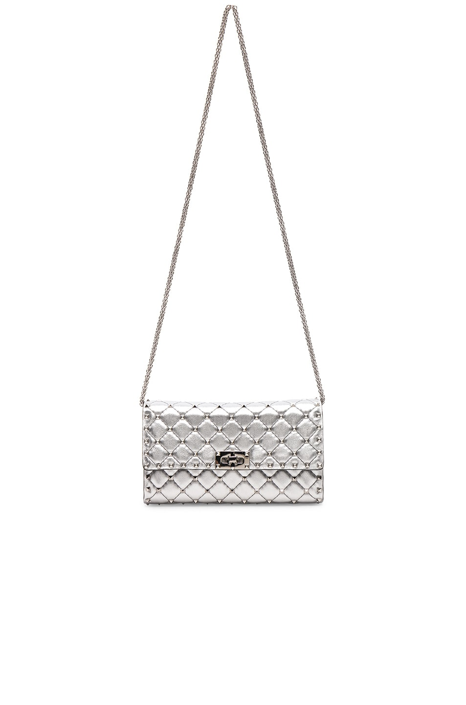 Image 5 of Valentino Metallic Rockstud Spike Clutch in Silver
