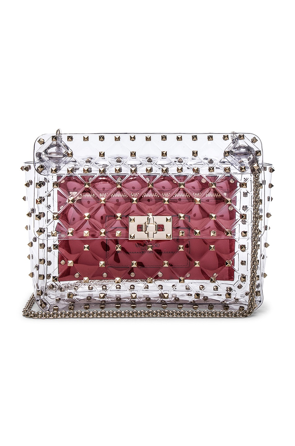Image 1 of Valentino Medium Rockstud Spike PVC Shoulder Bag in Clear