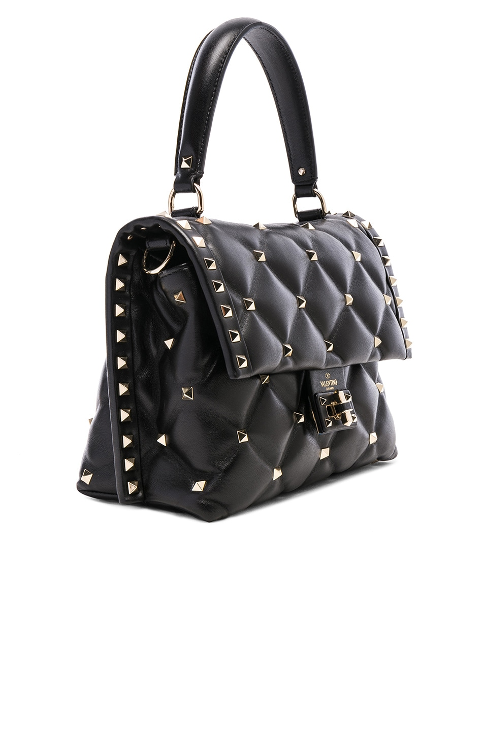 Image 4 of Valentino Candystud Top Handle Bag in Black