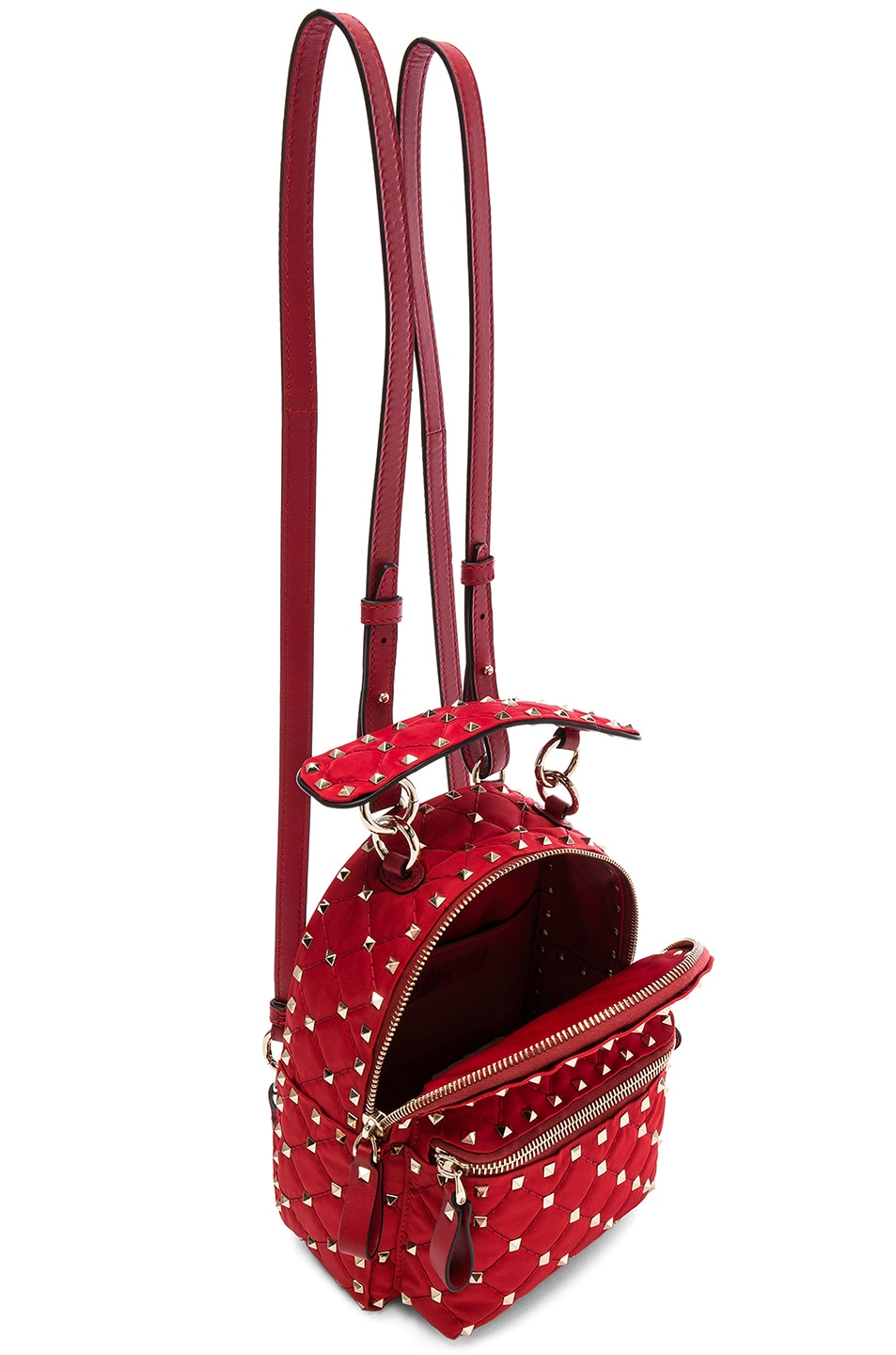 8977dd1cd5 Image 5 of Valentino Mini Rockstud Spike Nylon Backpack in Red