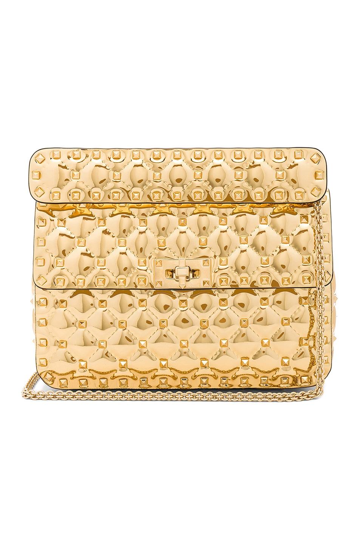 Image 1 of Valentino Medium Metallic Rockstud Spike Shoulder Bag in Gold