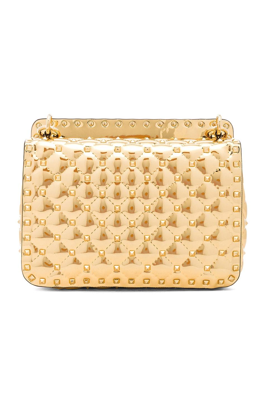 Image 3 of Valentino Medium Metallic Rockstud Spike Shoulder Bag in Gold
