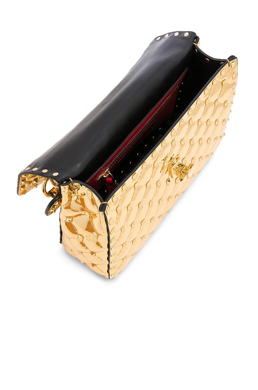 Image 5 of Valentino Medium Metallic Rockstud Spike Shoulder Bag in Gold
