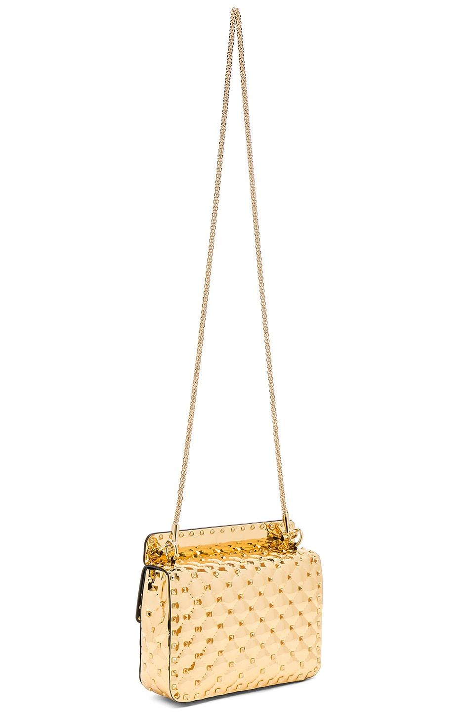Image 6 of Valentino Medium Metallic Rockstud Spike Shoulder Bag in Gold
