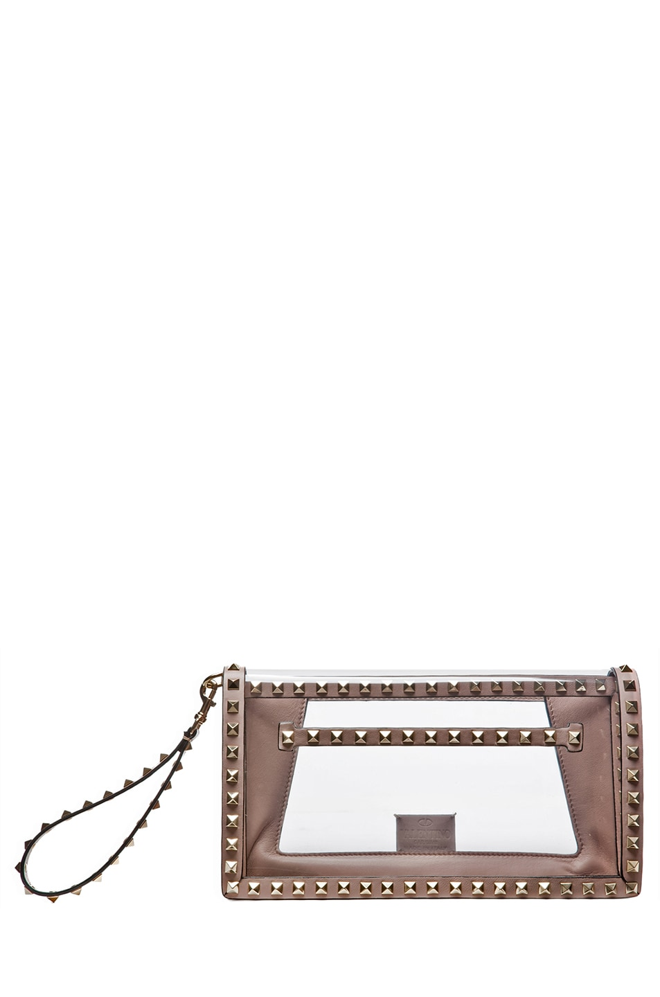 Image 1 of Valentino Rockstud Flap Bag Clutch in Poudre & Transparente
