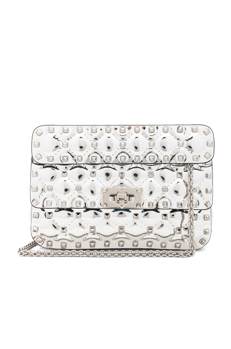 Image 1 of Valentino Small Metallic Quilted Rockstud Spike Shoulder Bag in Silver