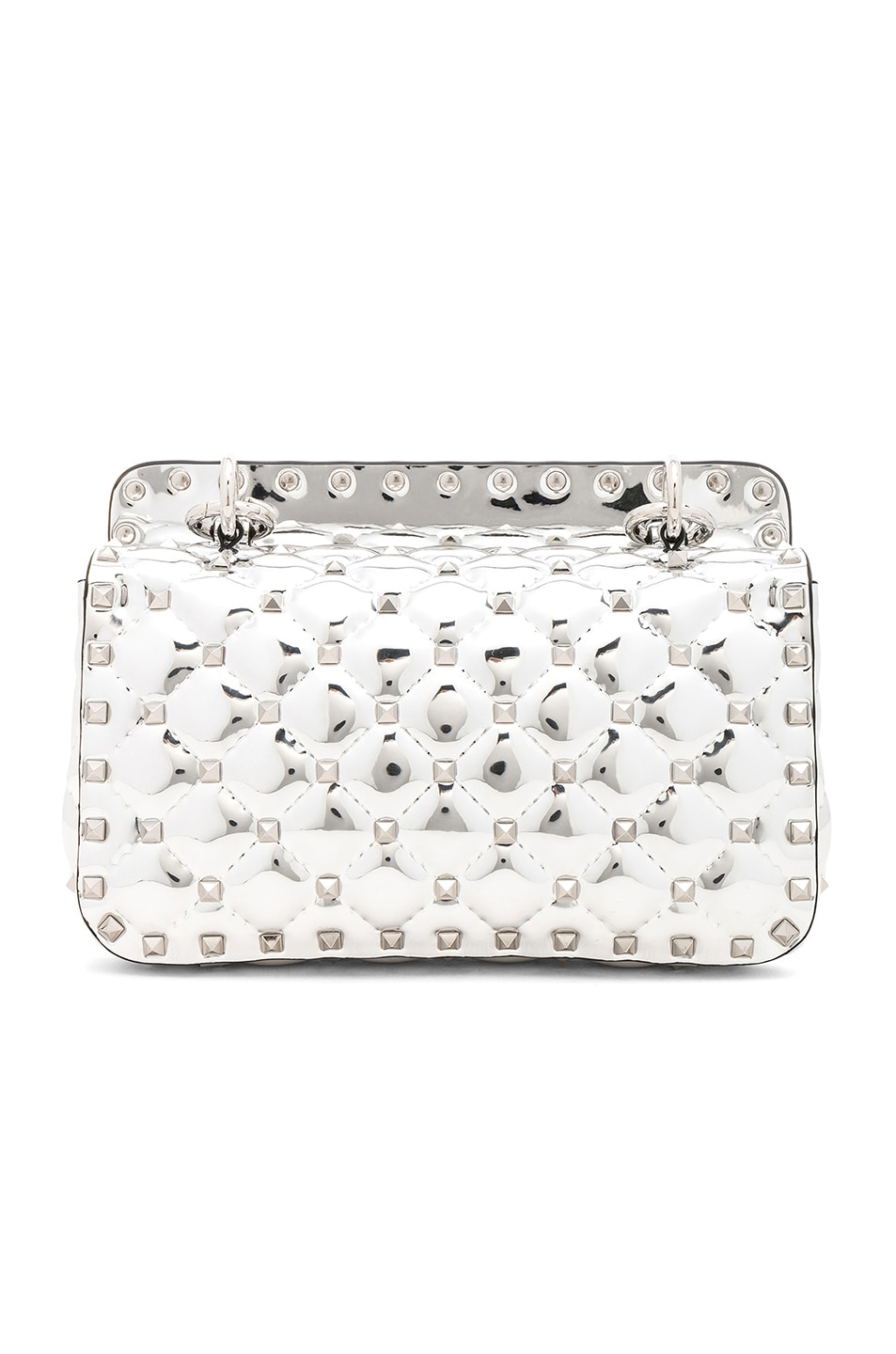 Image 3 of Valentino Small Metallic Quilted Rockstud Spike Shoulder Bag in Silver