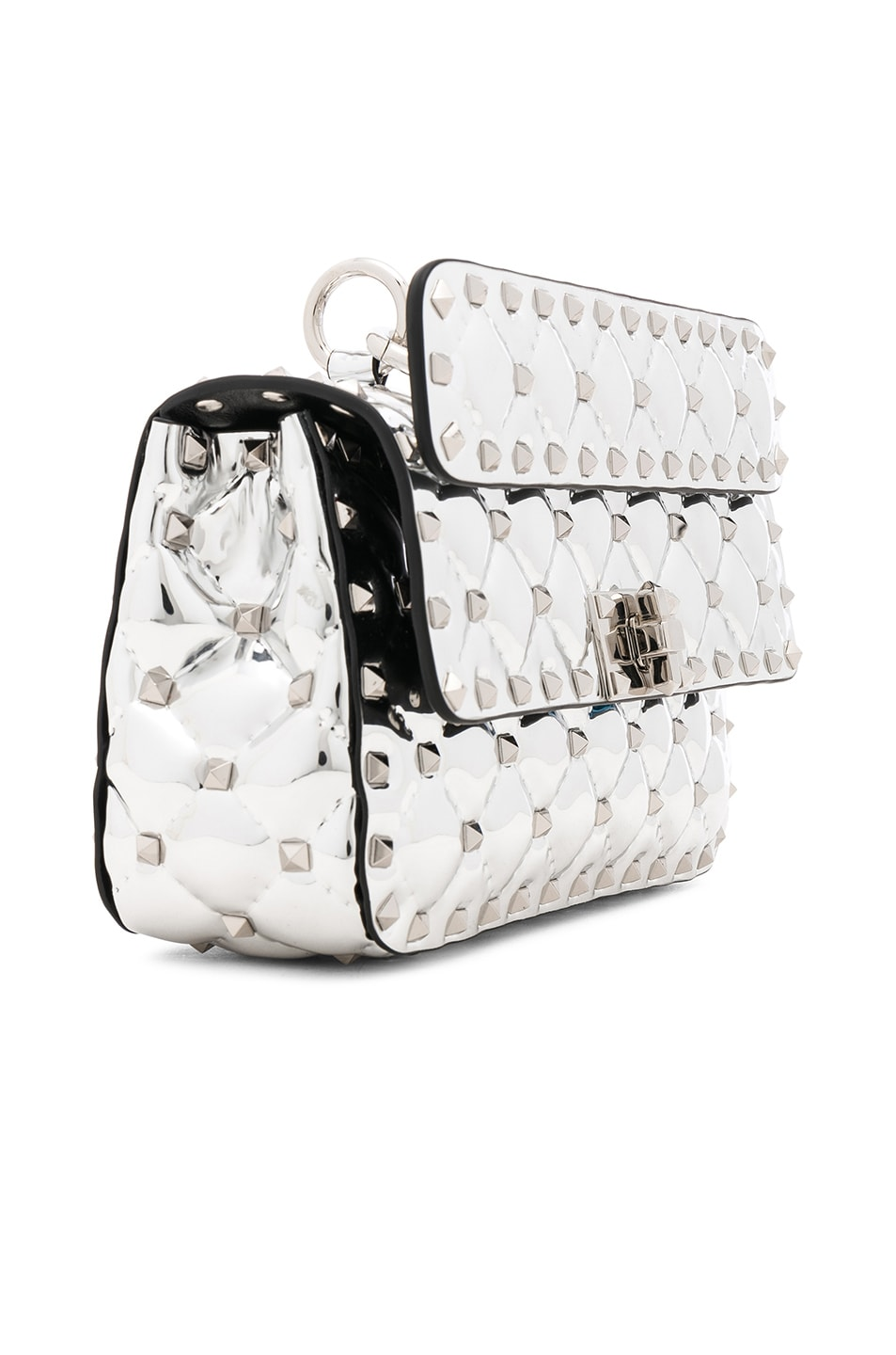 Image 4 of Valentino Small Metallic Quilted Rockstud Spike Shoulder Bag in Silver