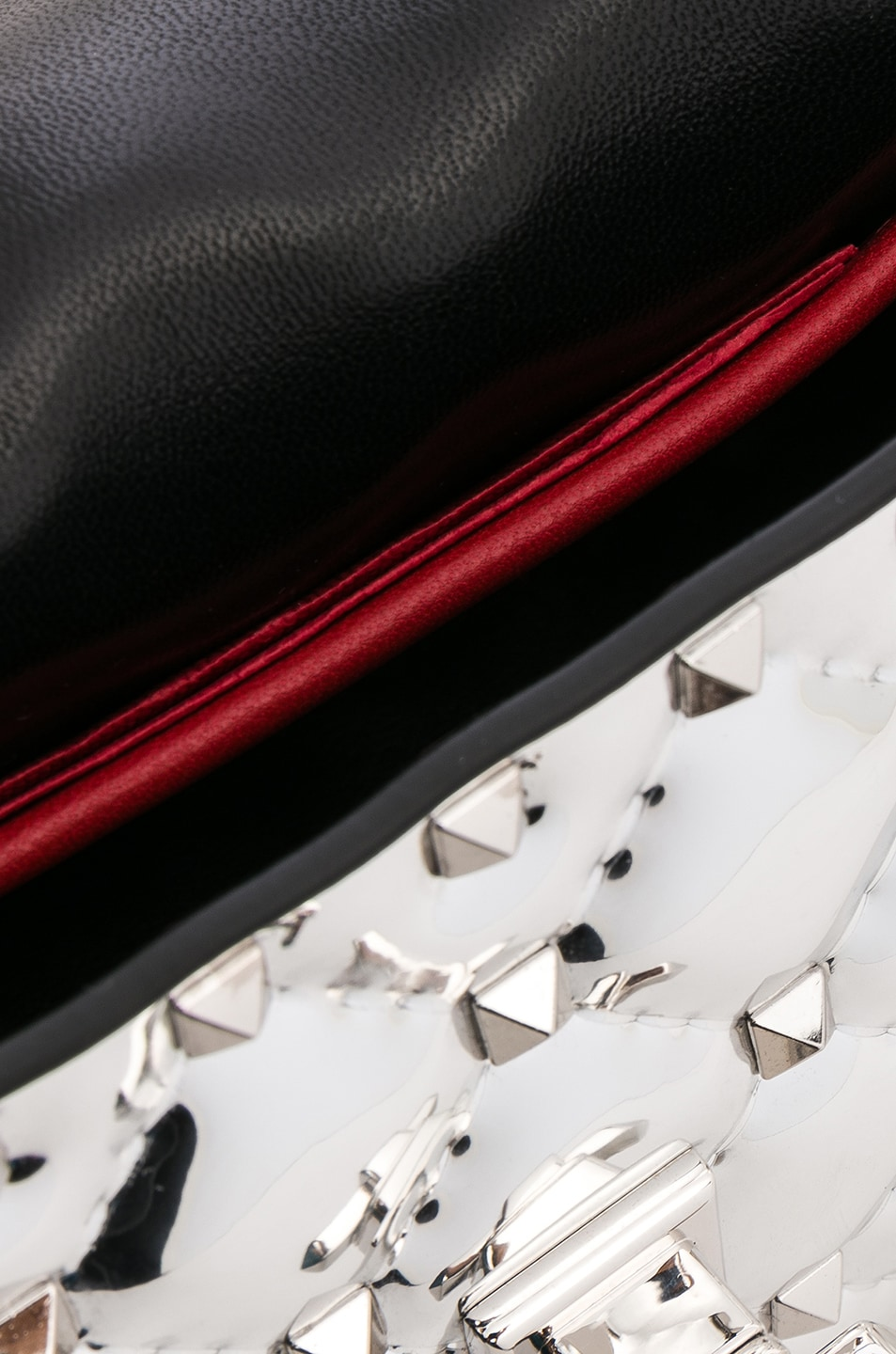 Image 7 of Valentino Small Metallic Quilted Rockstud Spike Shoulder Bag in Silver