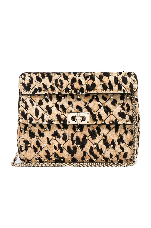 5403652d9f Image 1 of Valentino Medium Rockstud Spike Shoulder Bag in Leopard Print