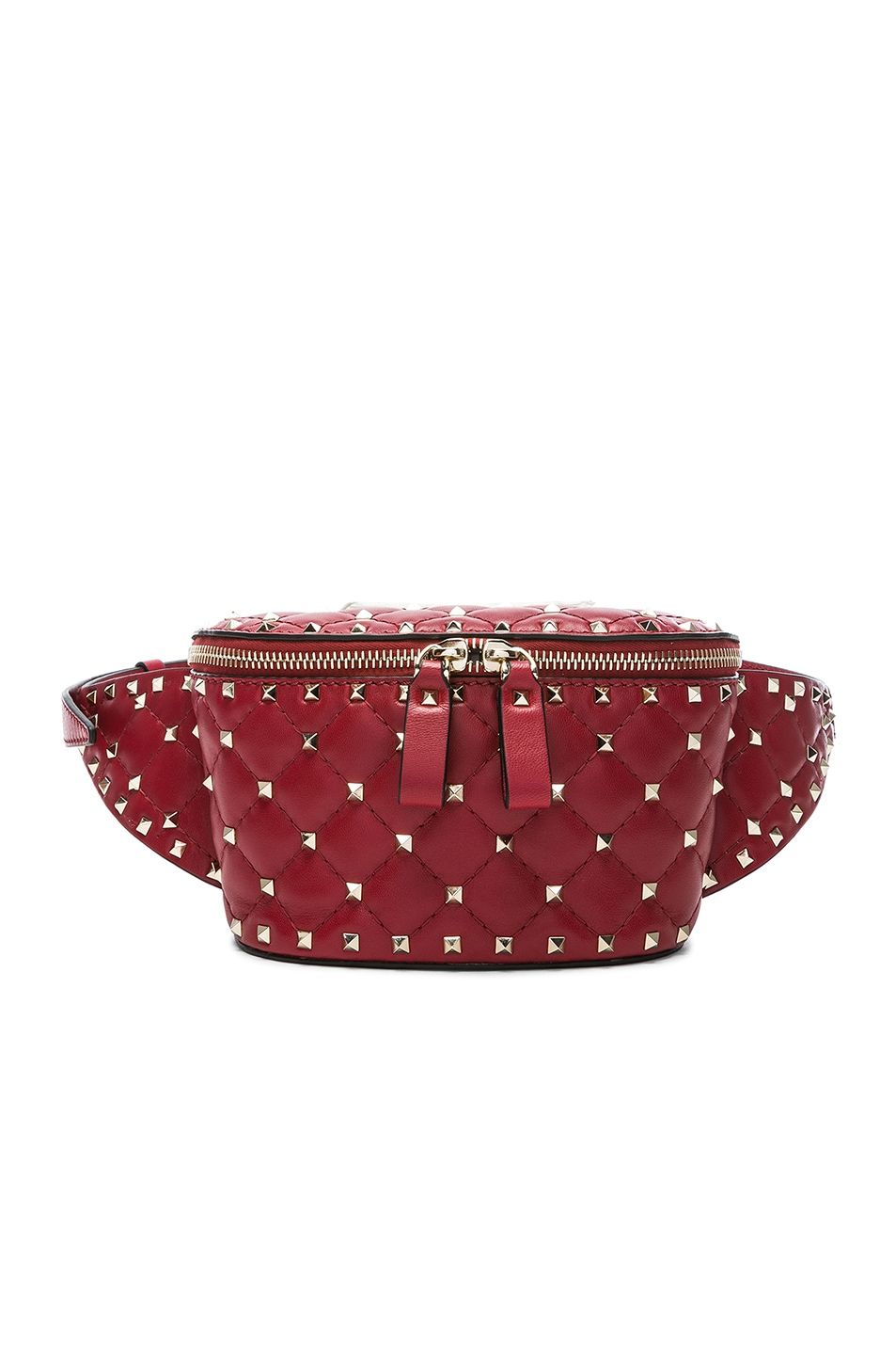 Image 1 of Valentino Small Quilted Rockstud Spike Belt Bag in Red
