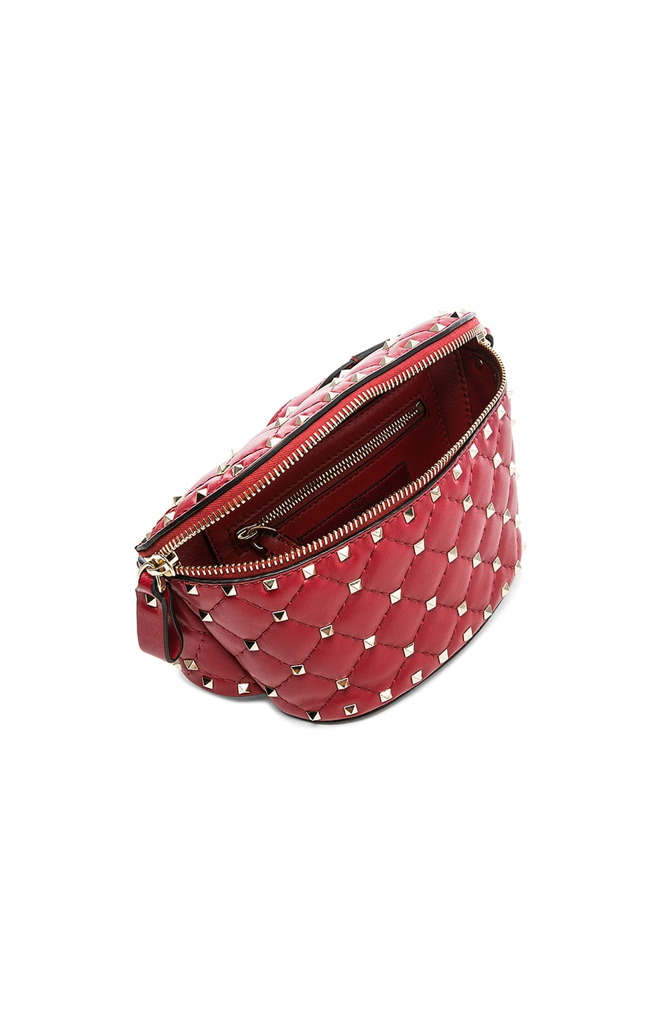 Image 5 of Valentino Small Quilted Rockstud Spike Belt Bag in Red