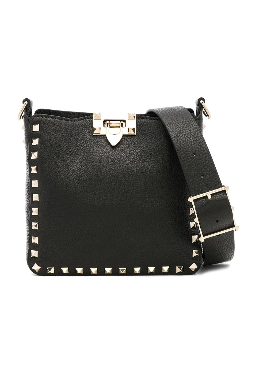 Image 1 of Valentino Mini Rockstud Hobo in Black