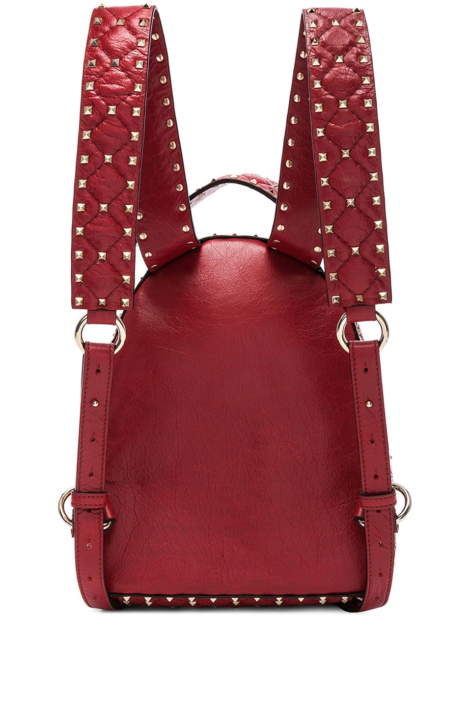 Image 3 of Valentino Small Rockstud Spike Backpack in Red