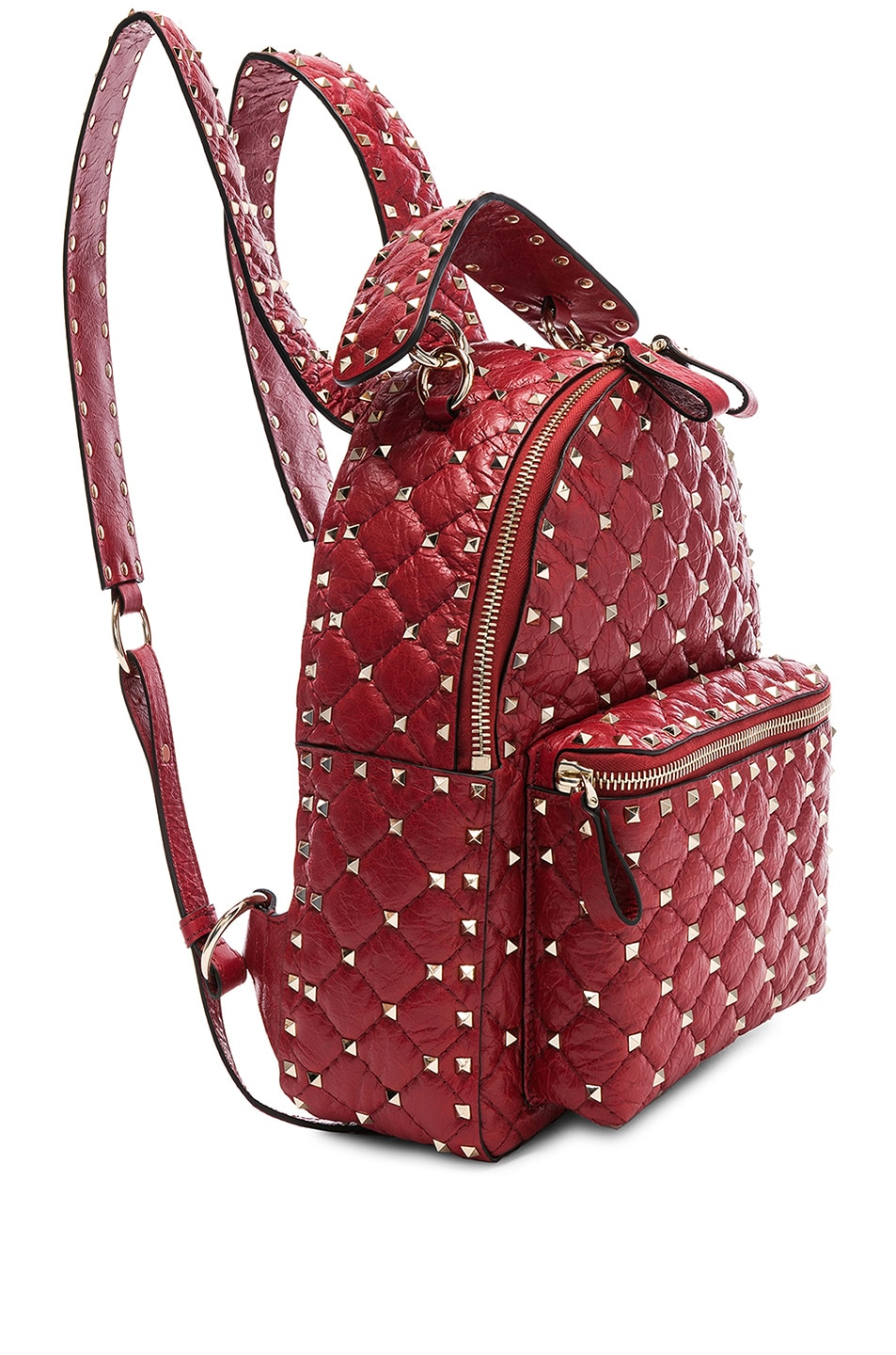 Image 4 of Valentino Small Rockstud Spike Backpack in Red