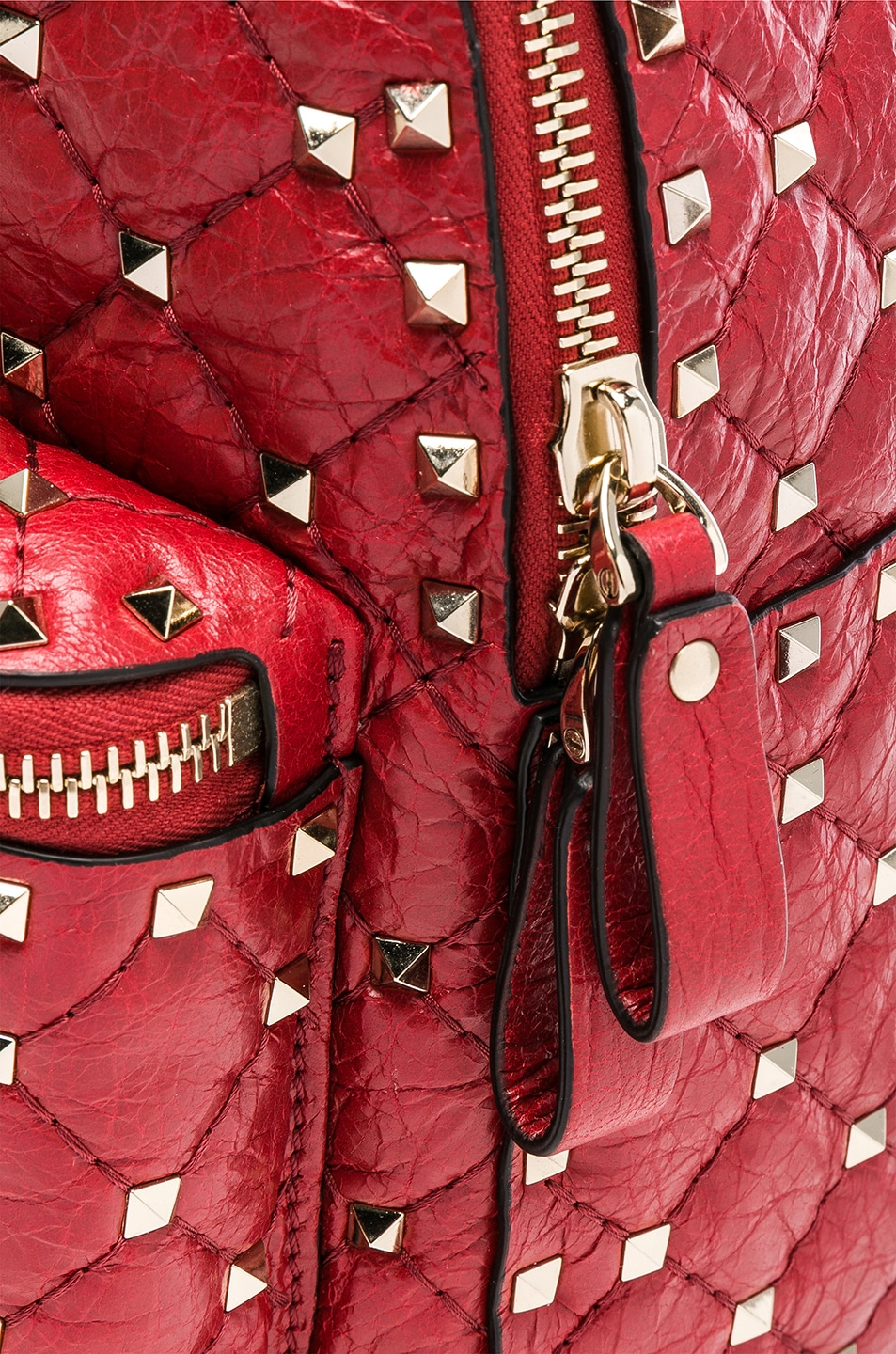 Image 7 of Valentino Small Rockstud Spike Backpack in Red