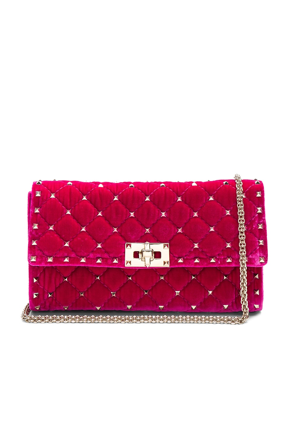 Image 1 of Valentino Velvet Quilted Rockstud Spike Clutch in Disco Pink