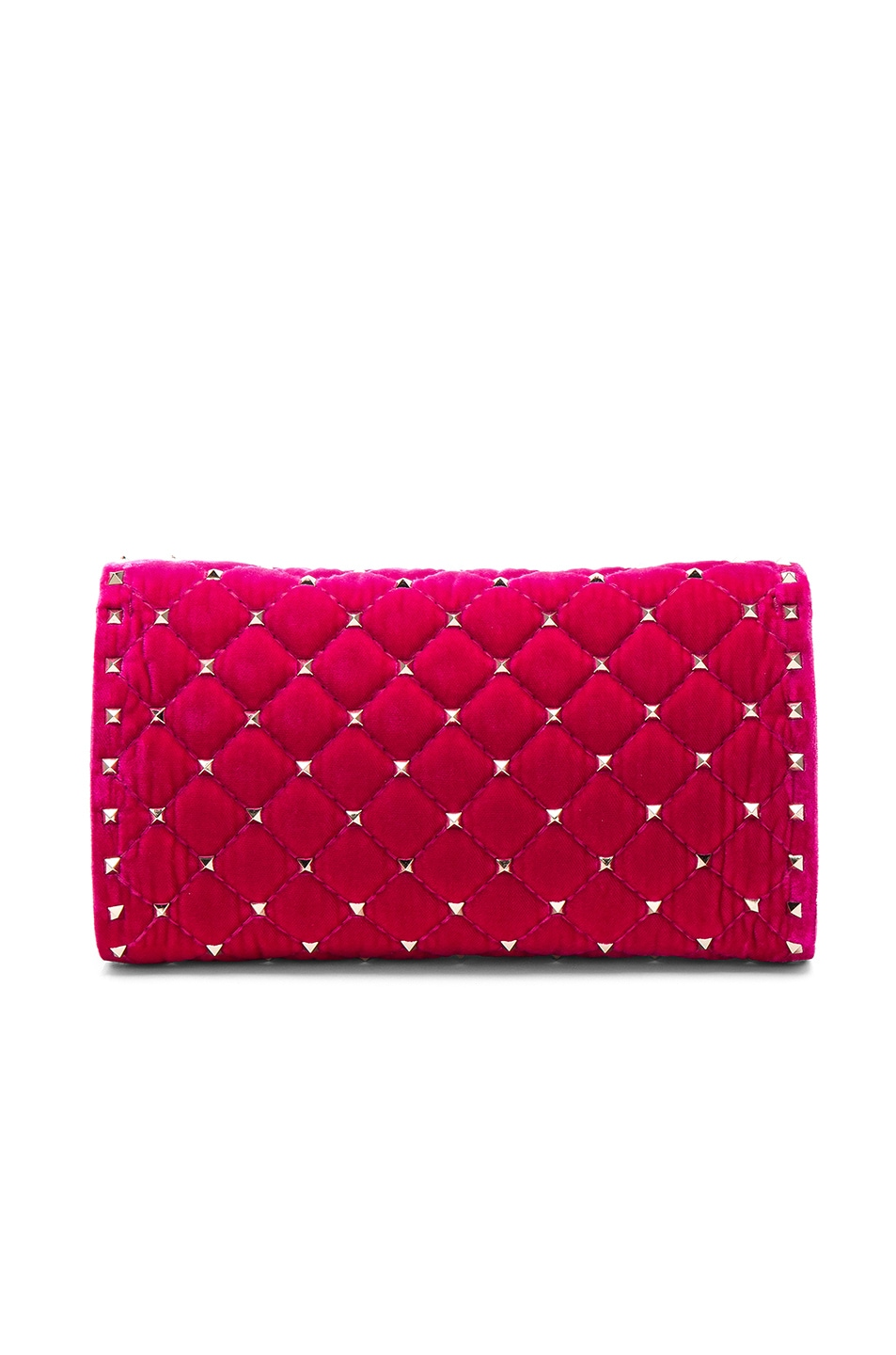 Image 3 of Valentino Velvet Quilted Rockstud Spike Clutch in Disco Pink