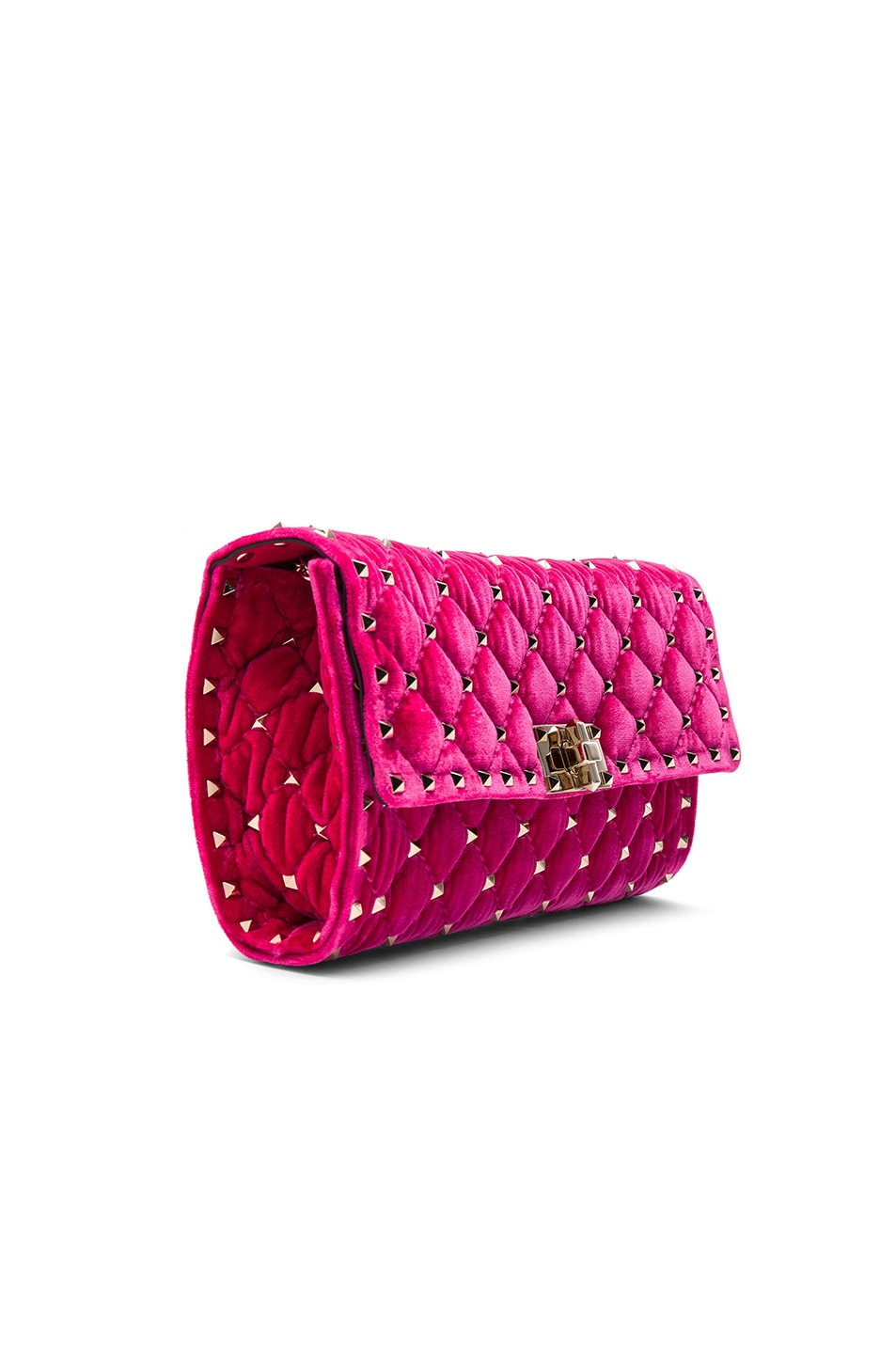 Image 4 of Valentino Velvet Quilted Rockstud Spike Clutch in Disco Pink