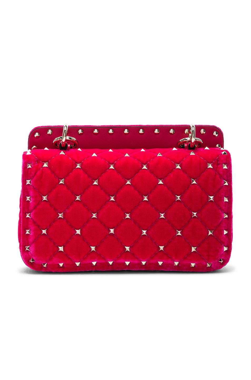 Image 3 of Valentino Small Velvet Rockstud Spike Shoulder Bag in Disco Pink