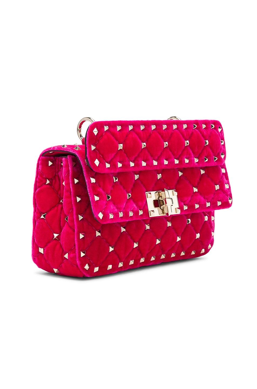 Image 4 of Valentino Small Velvet Rockstud Spike Shoulder Bag in Disco Pink