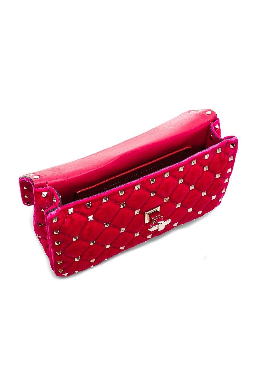Image 5 of Valentino Small Velvet Rockstud Spike Shoulder Bag in Disco Pink